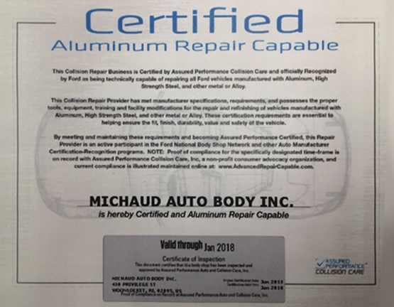 Certified Aluminum Repair Capable